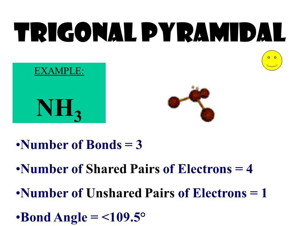 Trigonal Pyramidal NH3 Number of Bonds = 3