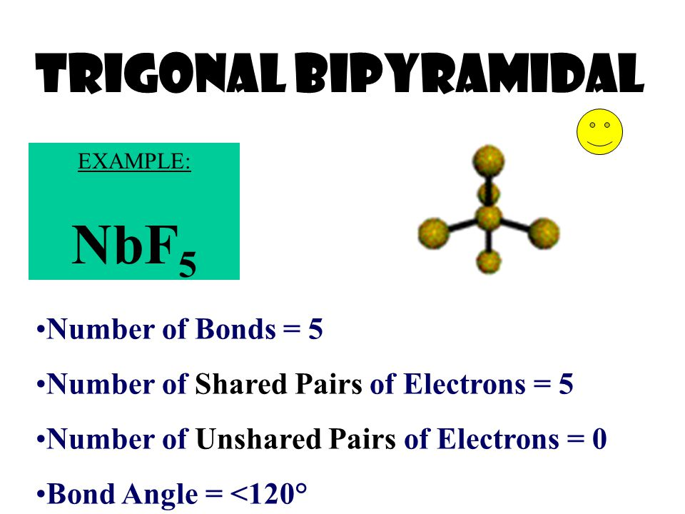 NbF5 Trigonal bIPyramidal Number of Bonds = 5