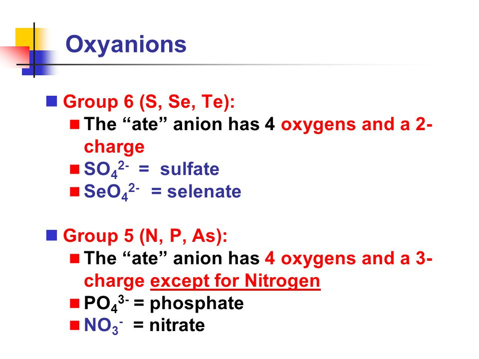 Oxyanions Group 6 (S, Se, Te):