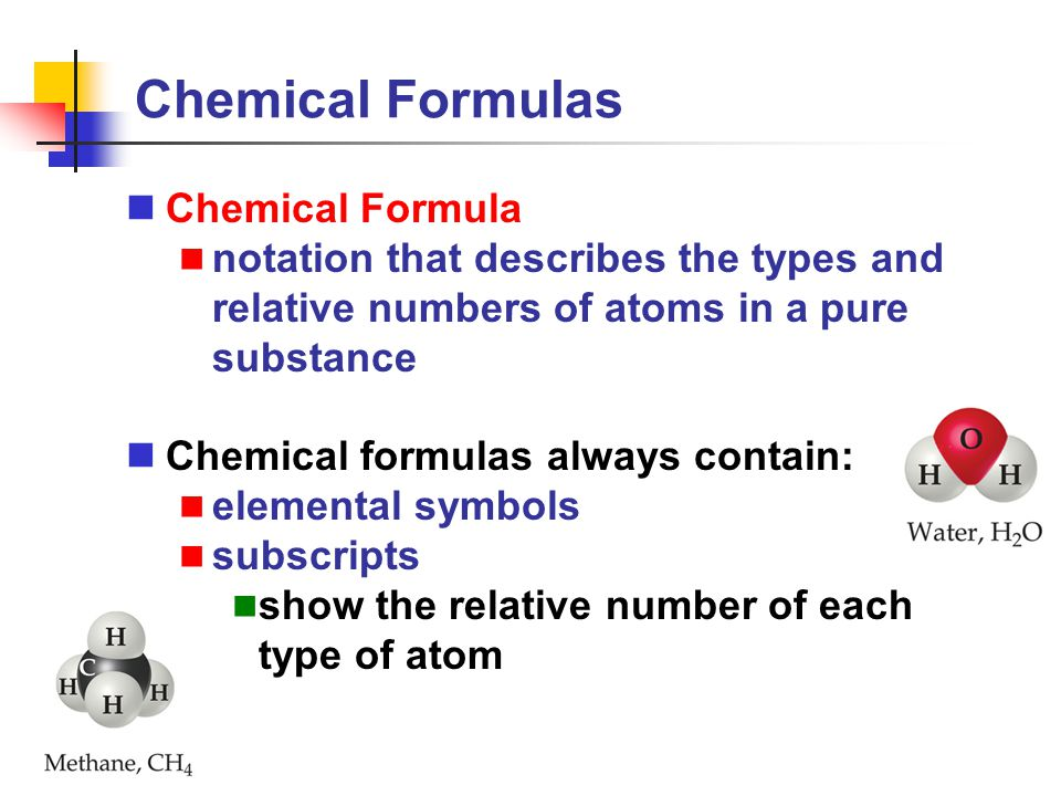 Chemical Formulas Chemical Formula
