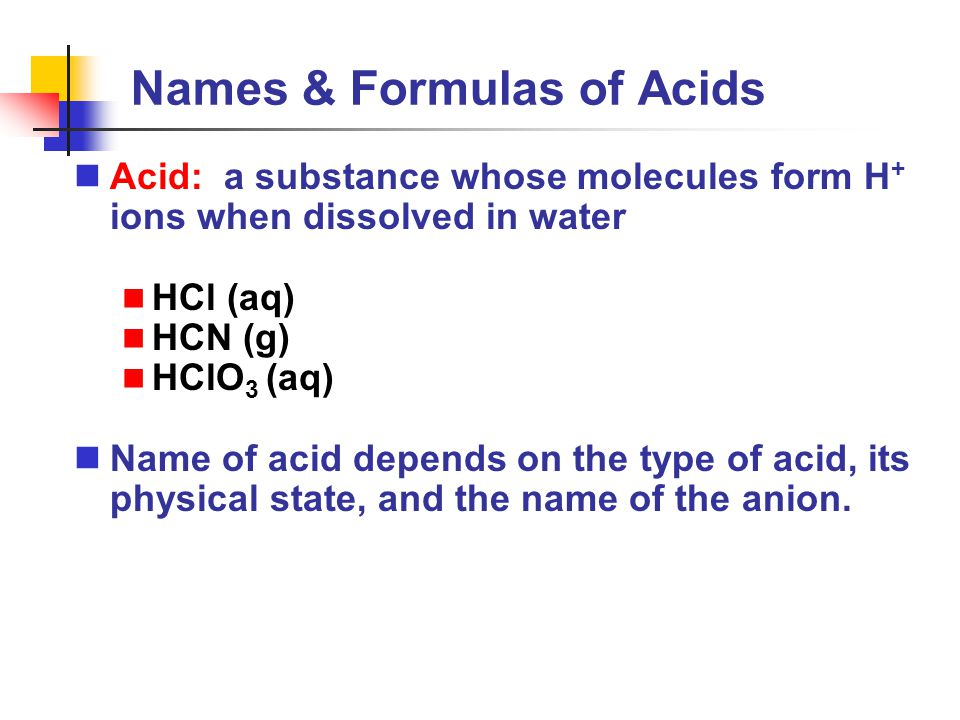 Names & Formulas of Acids