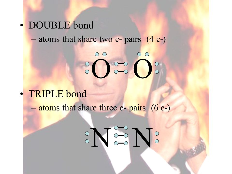 O O N N DOUBLE bond TRIPLE bond atoms that share two e- pairs (4 e-)