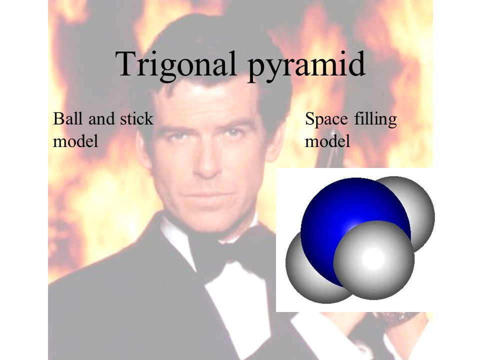 Trigonal pyramid Ball and stick model Space filling model