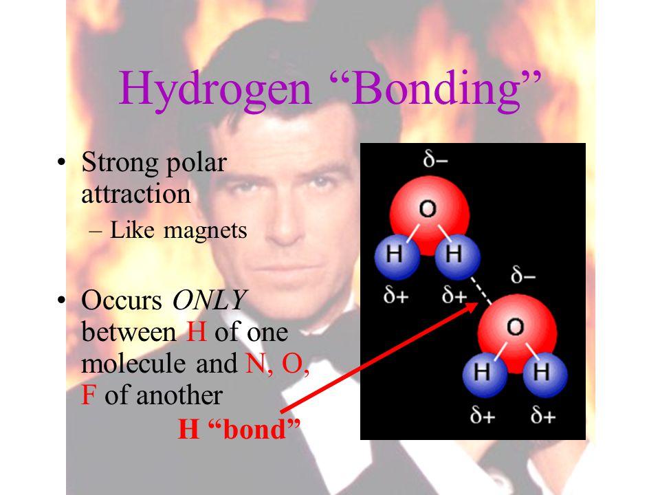 Hydrogen Bonding Strong polar attraction