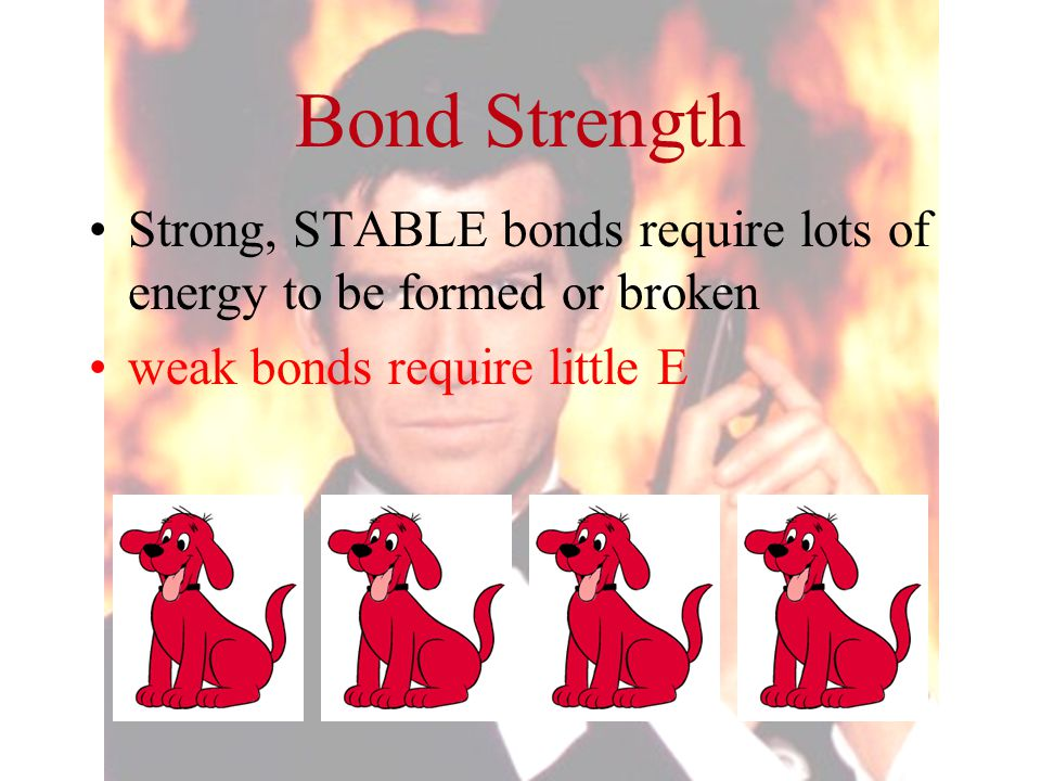 Bond Strength Strong, STABLE bonds require lots of energy to be formed or broken.