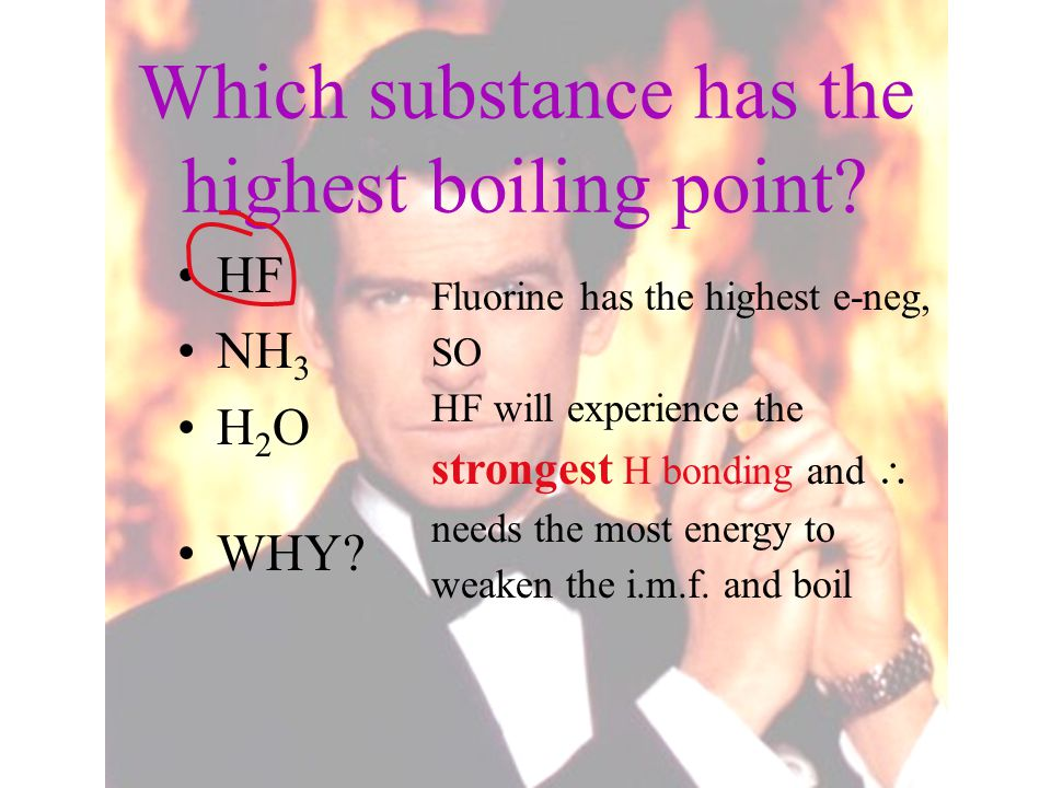 Which substance has the highest boiling point