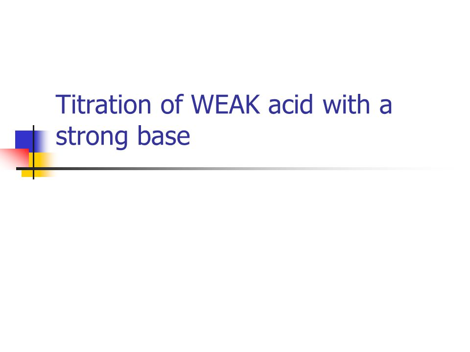 Titration of WEAK acid with a strong base