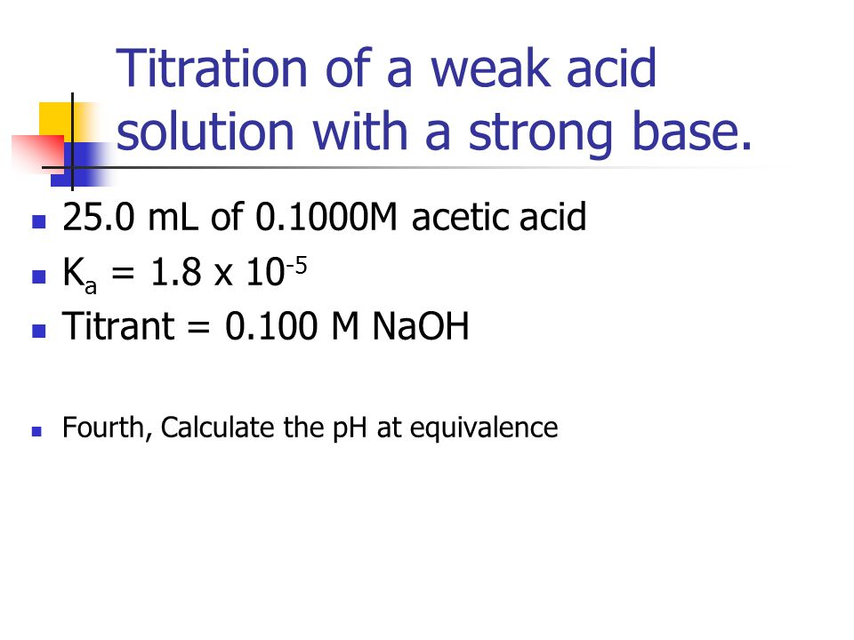 Titration of a weak acid solution with a strong base.
