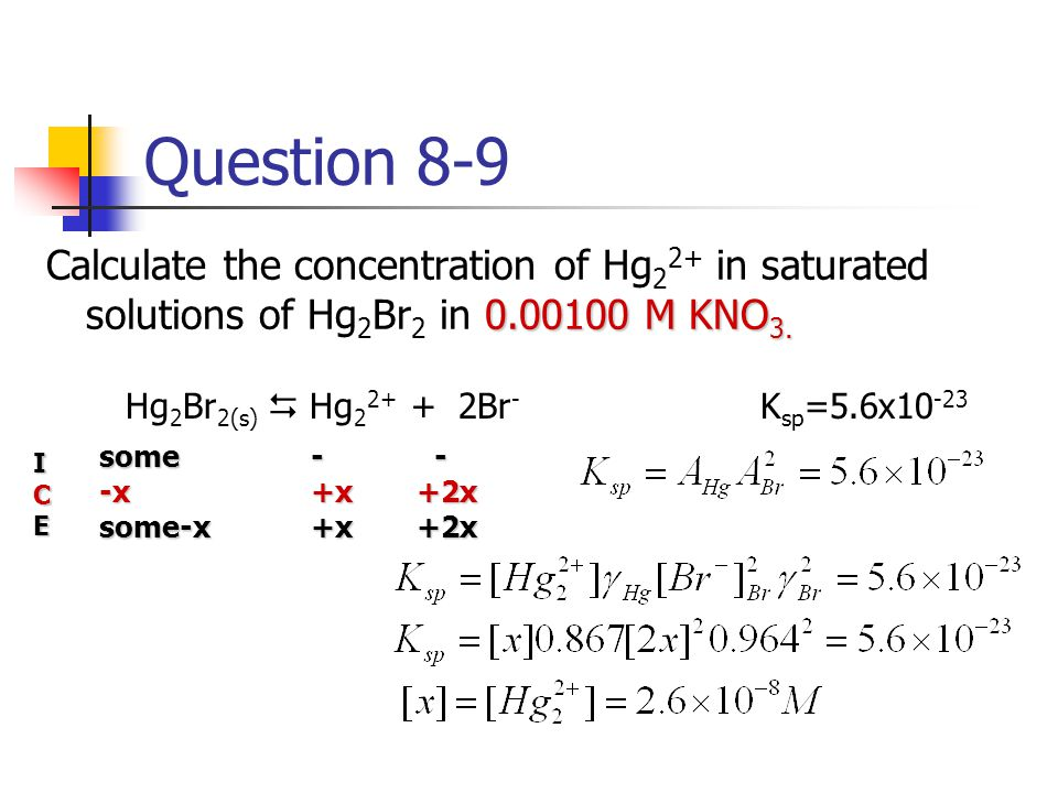 Question 8-9 Calculate the concentration of Hg22+ in saturated solutions of Hg2Br2 in 0.00100 M KNO3.