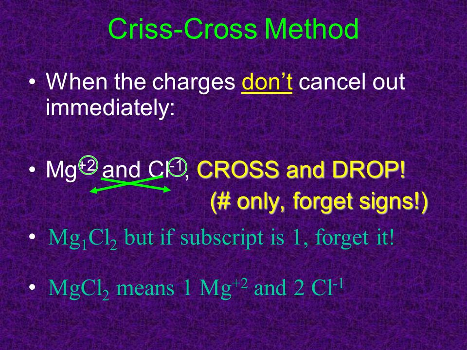 Criss-Cross Method When the charges don't cancel out immediately:
