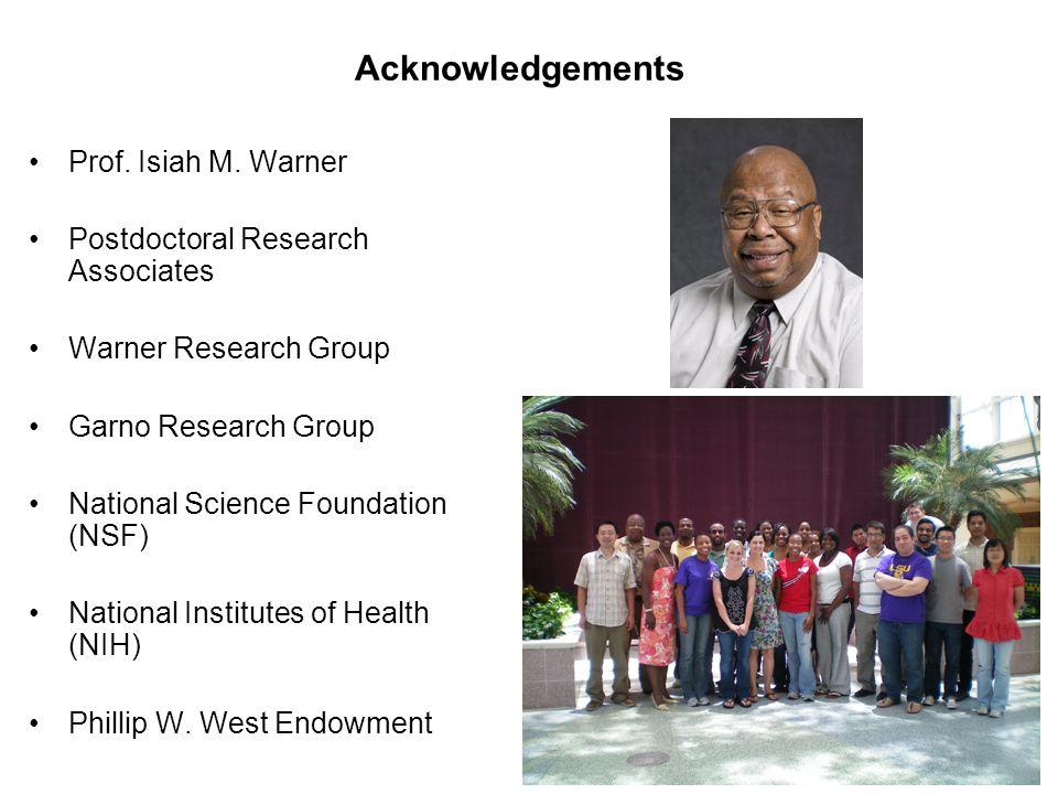 Acknowledgements Prof. Isiah M. Warner