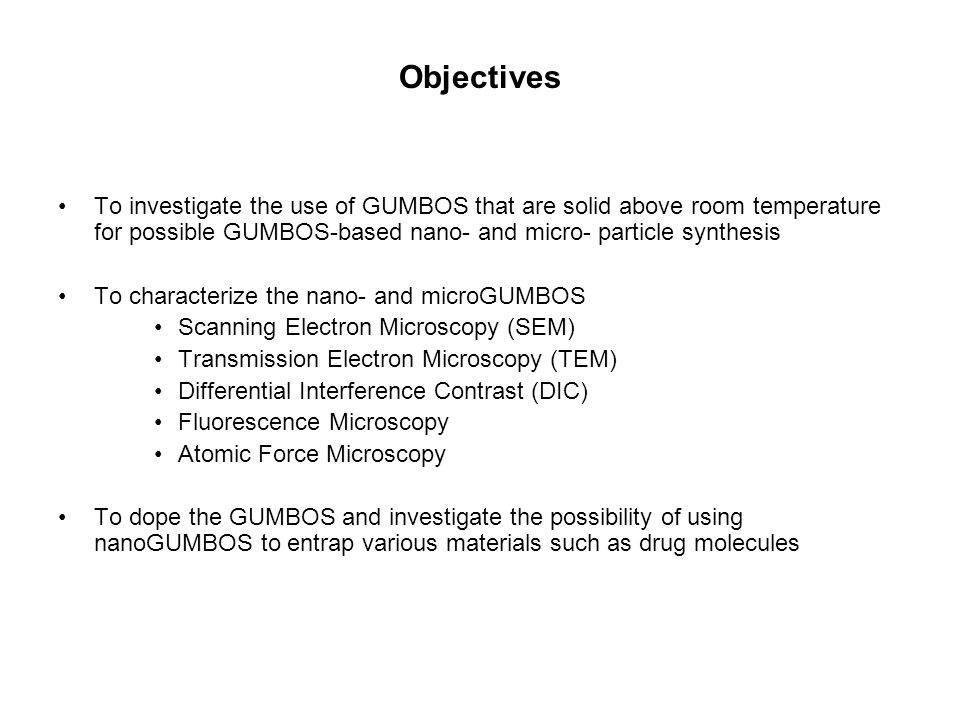 Objectives To investigate the use of GUMBOS that are solid above room temperature for possible GUMBOS-based nano- and micro- particle synthesis.