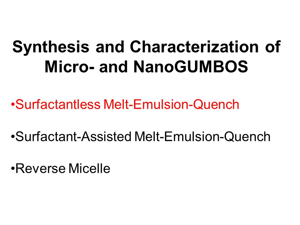 Synthesis and Characterization of Micro- and NanoGUMBOS
