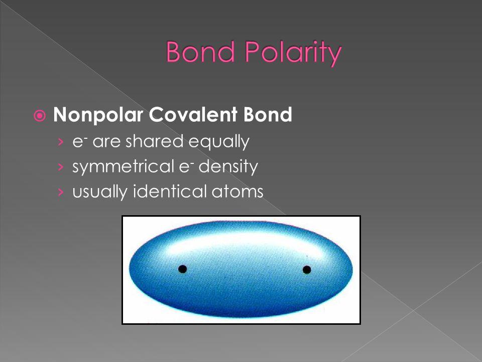 Bond Polarity Nonpolar Covalent Bond e- are shared equally