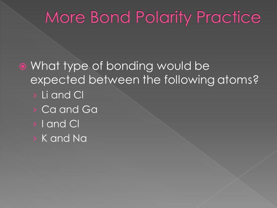 More Bond Polarity Practice