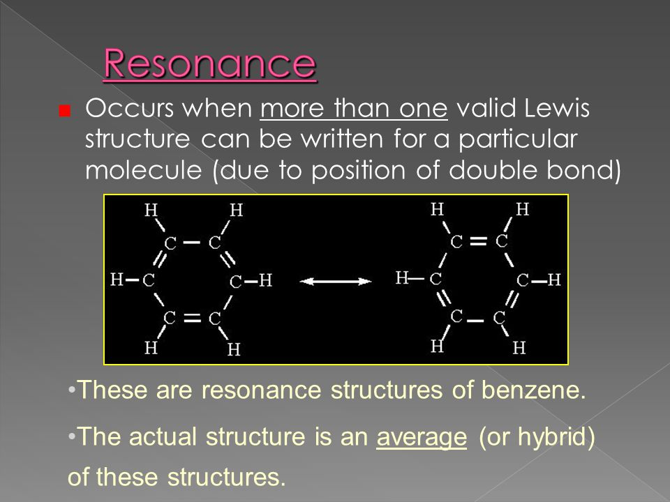 Resonance Occurs when more than one valid Lewis structure can be written for a particular molecule (due to position of double bond)