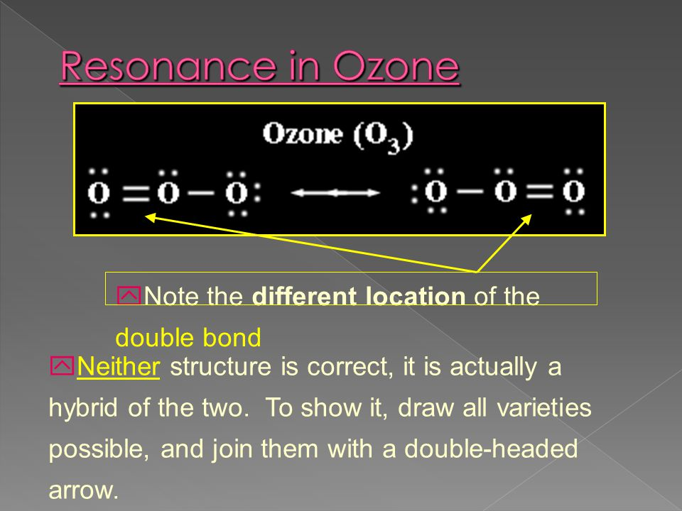 Resonance in Ozone Note the different location of the double bond