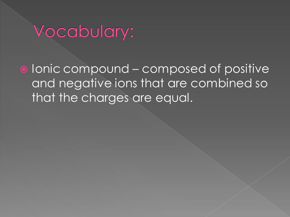 Vocabulary: Ionic compound – composed of positive and negative ions that are combined so that the charges are equal.