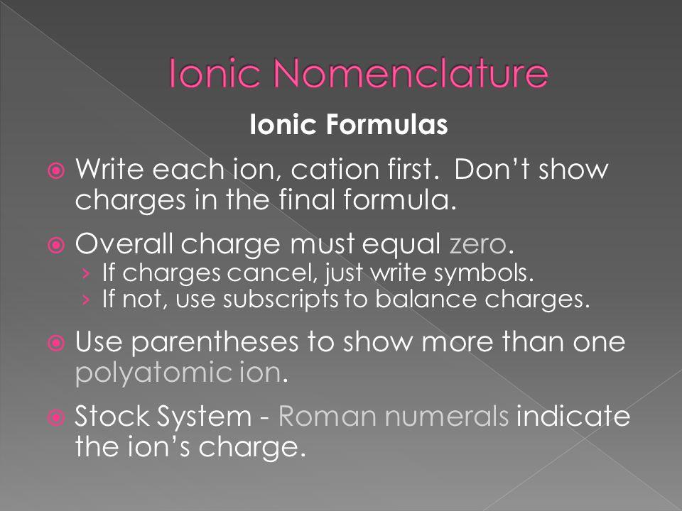 Ionic Nomenclature Ionic Formulas