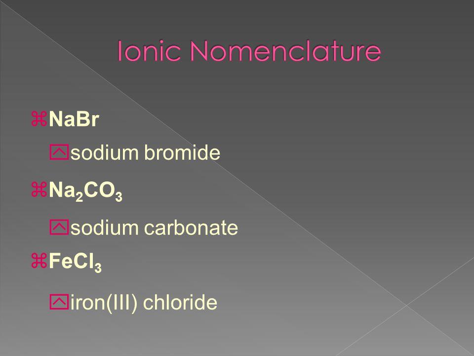Ionic Nomenclature NaBr Na2CO3 sodium bromide FeCl3 sodium carbonate