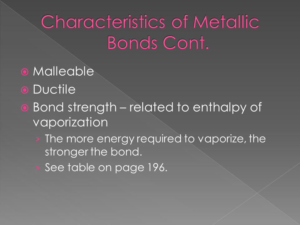 Characteristics of Metallic Bonds Cont.