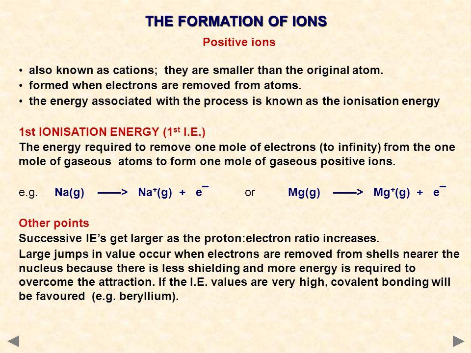 THE FORMATION OF IONS Positive ions