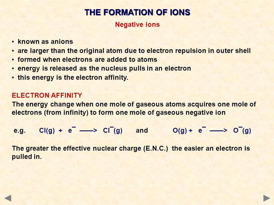 THE FORMATION OF IONS Negative ions known as anions