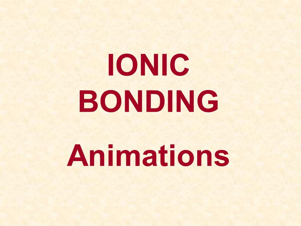 IONIC BONDING Animations