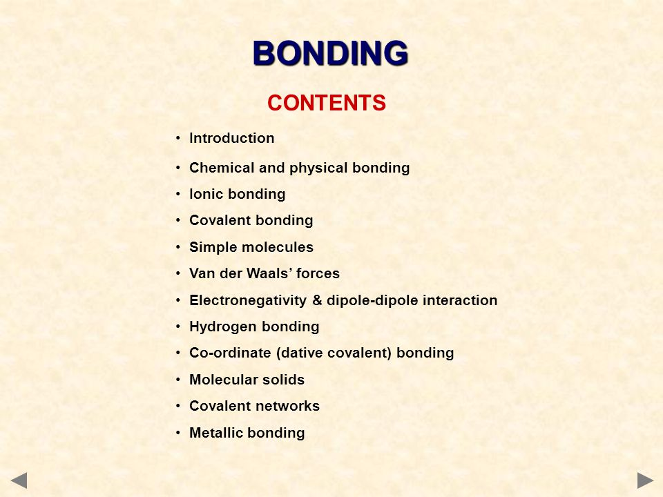 BONDING CONTENTS Introduction Chemical and physical bonding