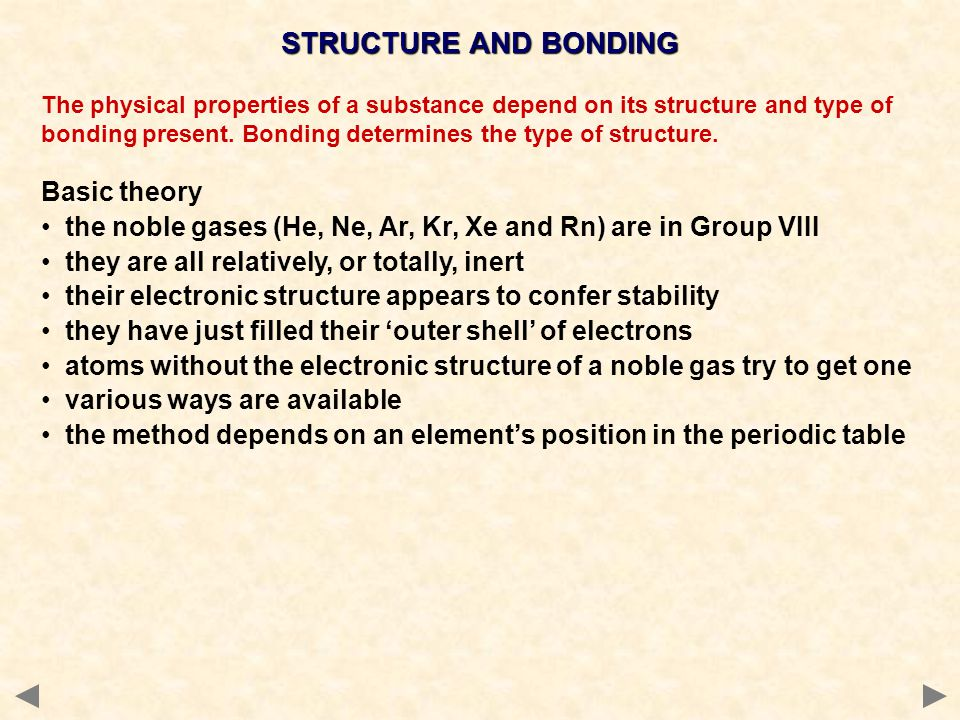 STRUCTURE AND BONDING Basic theory