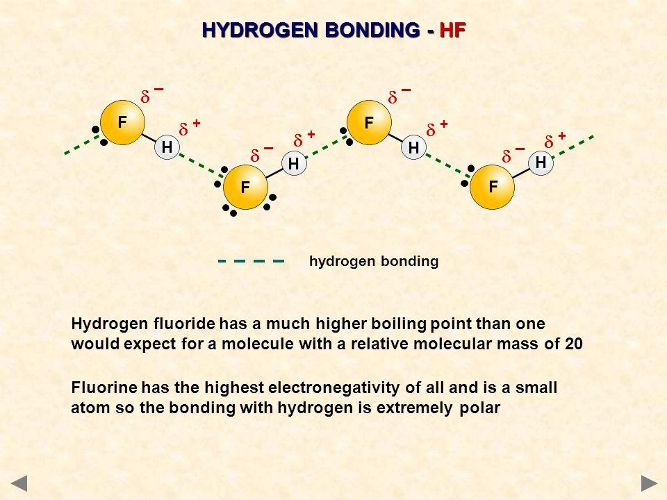 HYDROGEN BONDING - HF d ¯ d ¯ d + d + d + d + d ¯ d ¯ F F H H H H F F