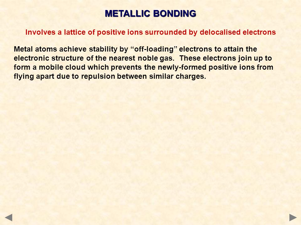 METALLIC BONDING Involves a lattice of positive ions surrounded by delocalised electrons.