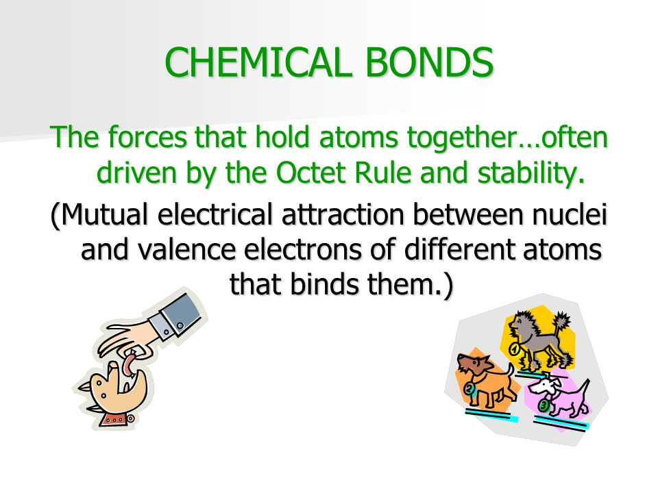 CHEMICAL BONDS The forces that hold atoms together…often driven by the Octet Rule and stability.