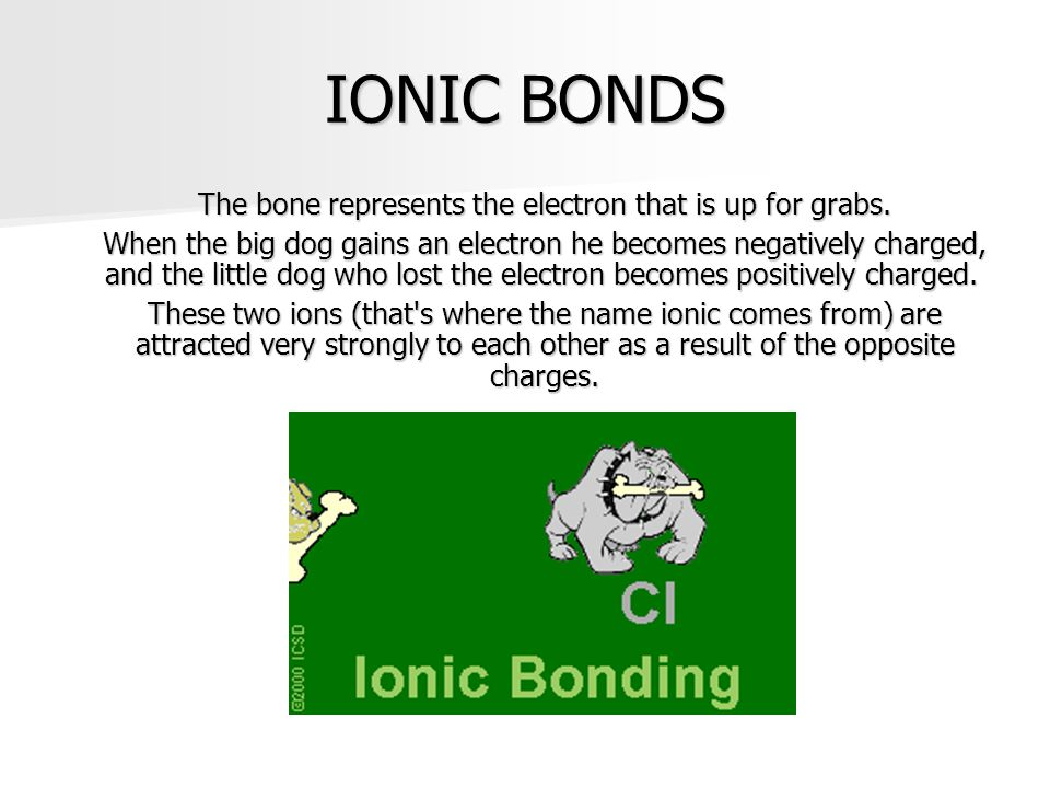 The bone represents the electron that is up for grabs.
