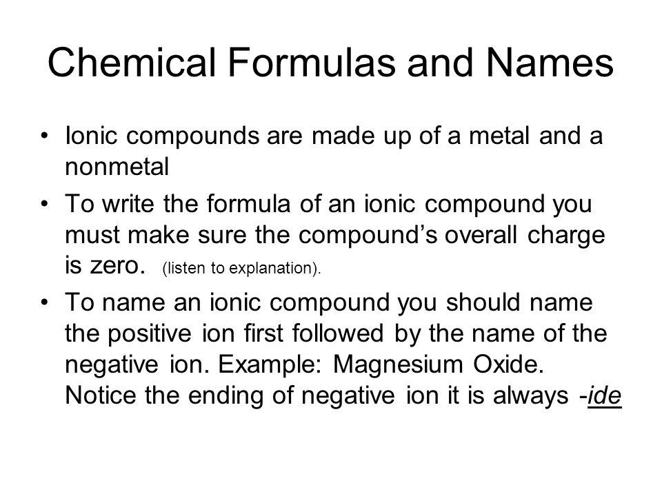 Chemical Formulas and Names