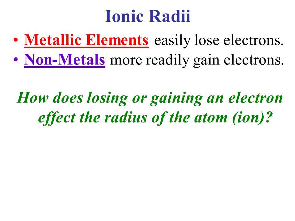 Ionic Radii Metallic Elements easily lose electrons.