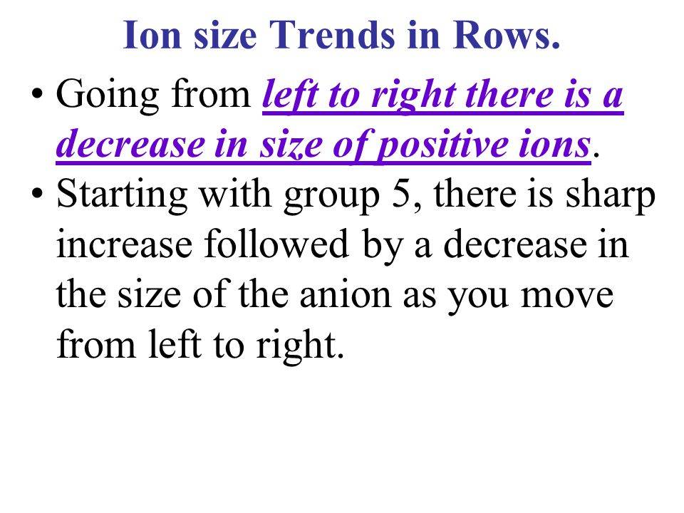 Ion size Trends in Rows. Going from left to right there is a decrease in size of positive ions.