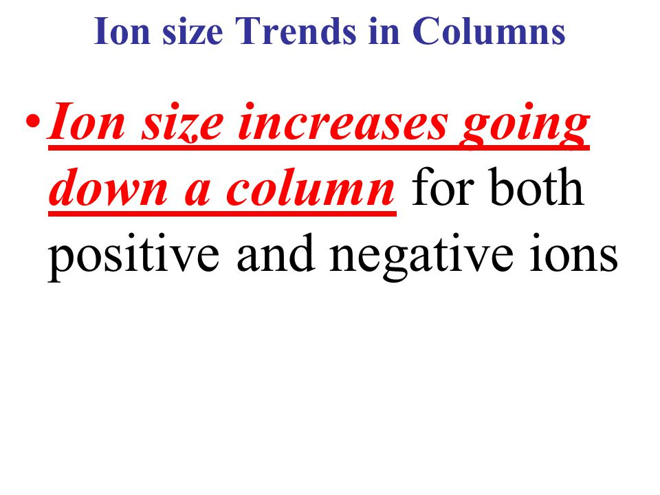 Ion size Trends in Columns
