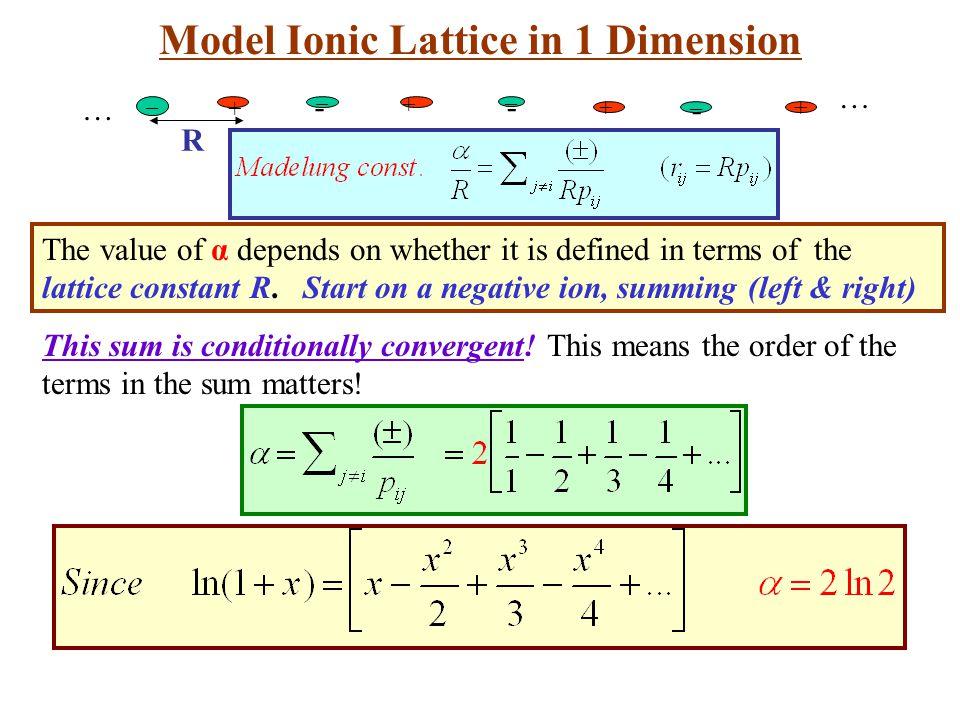 Model Ionic Lattice in 1 Dimension