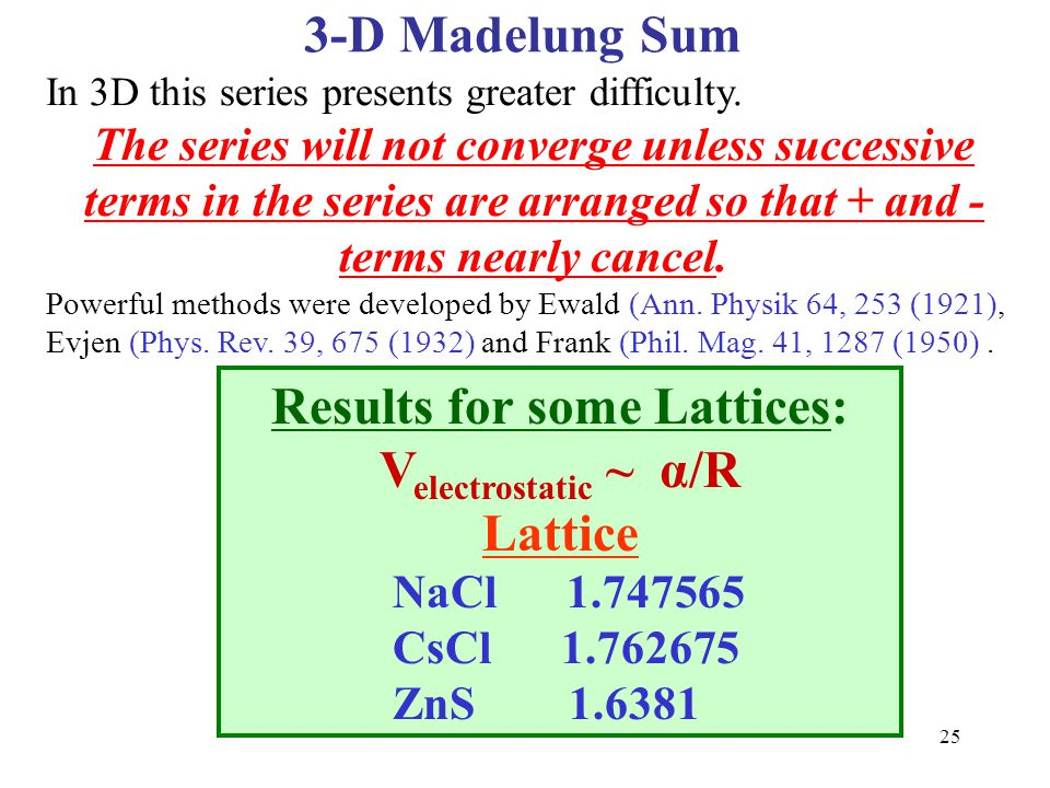 Results for some Lattices: