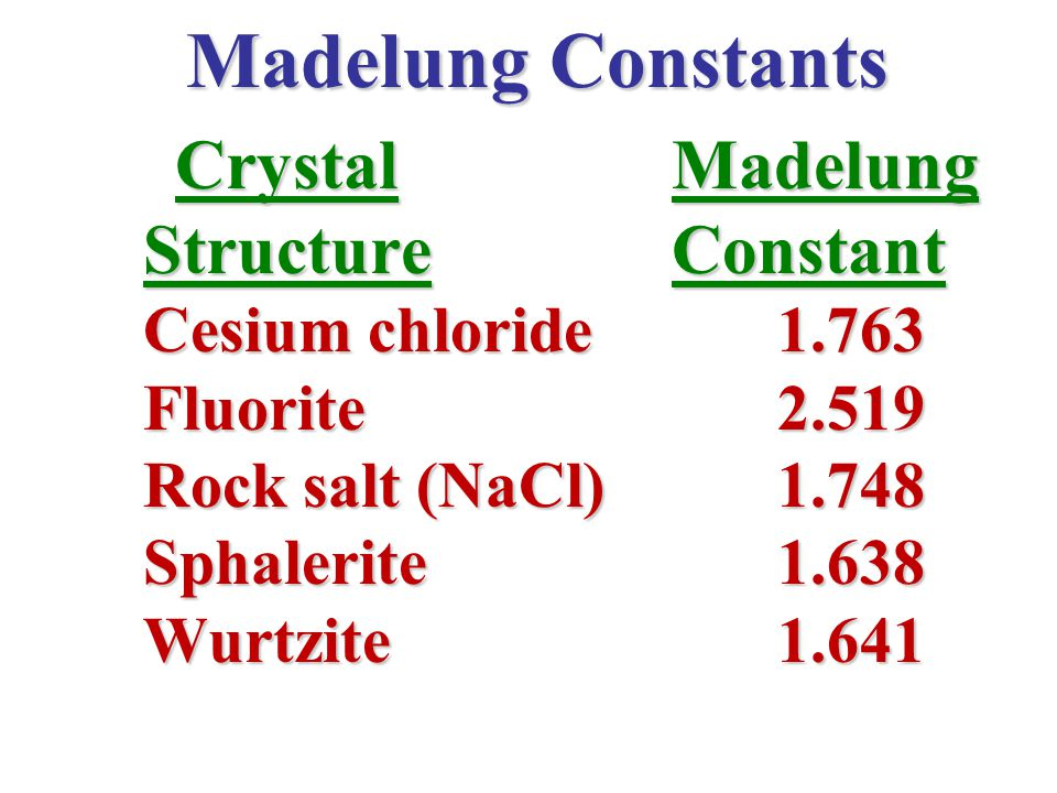 Madelung Constants Structure Constant Crystal Madelung Fluorite 2.519