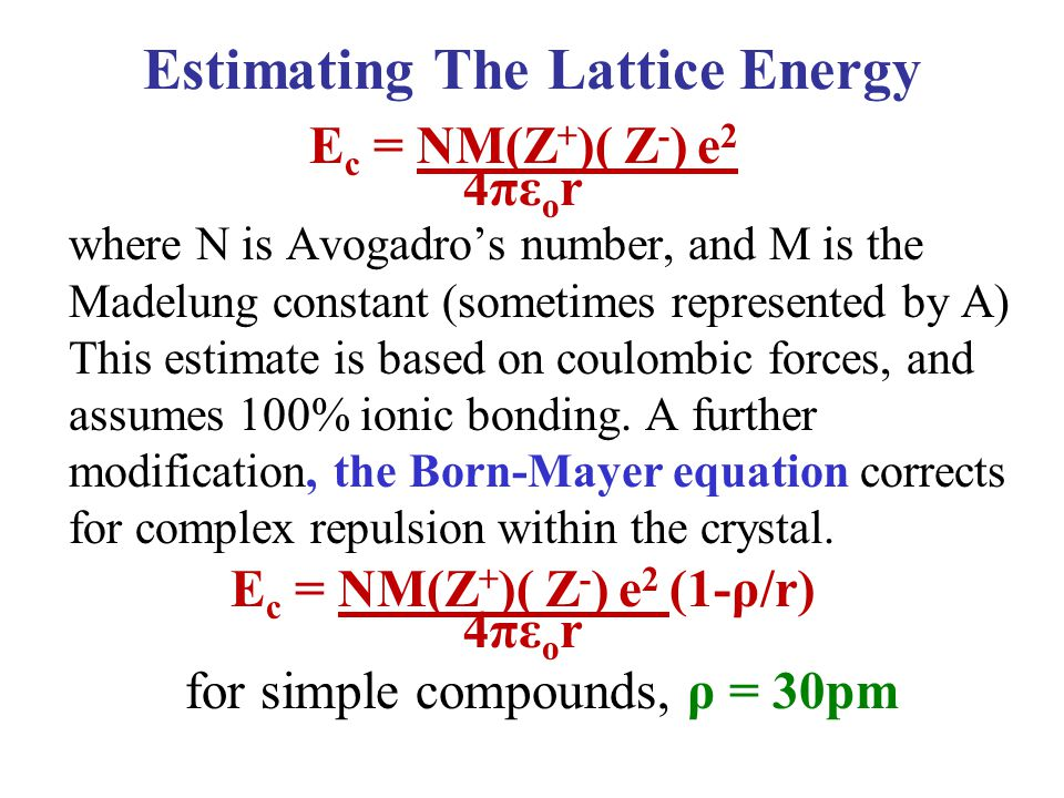 Estimating The Lattice Energy