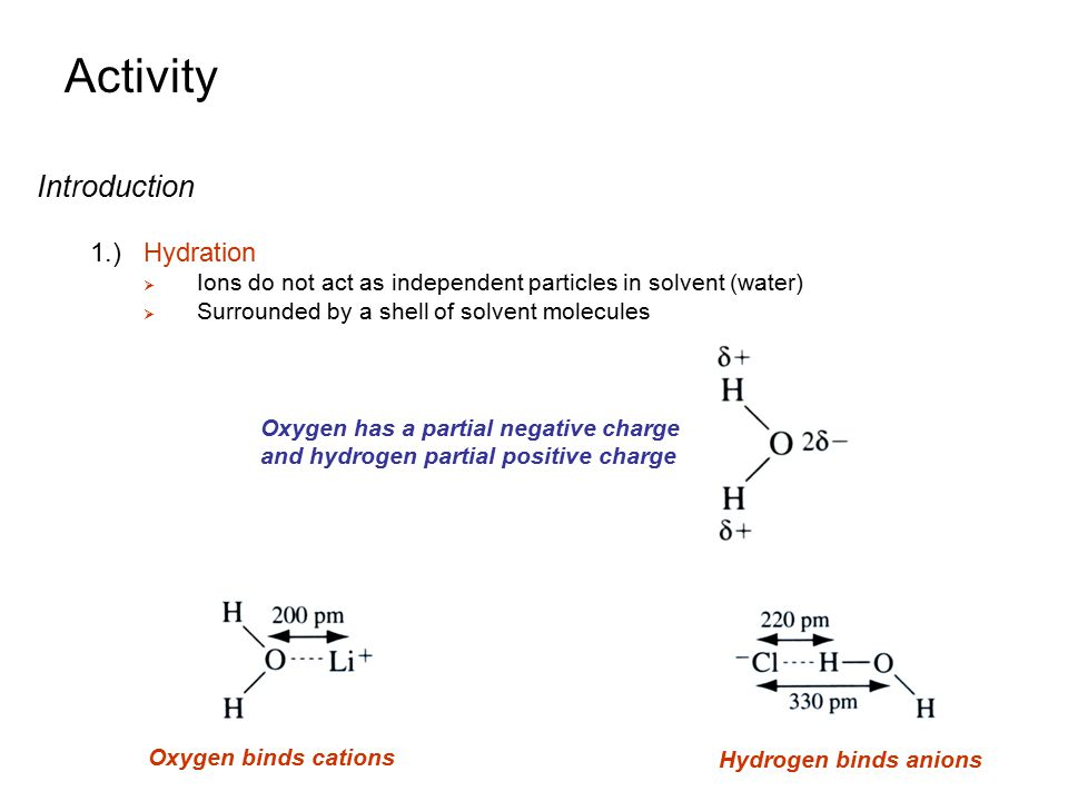Activity Introduction 1.) Hydration