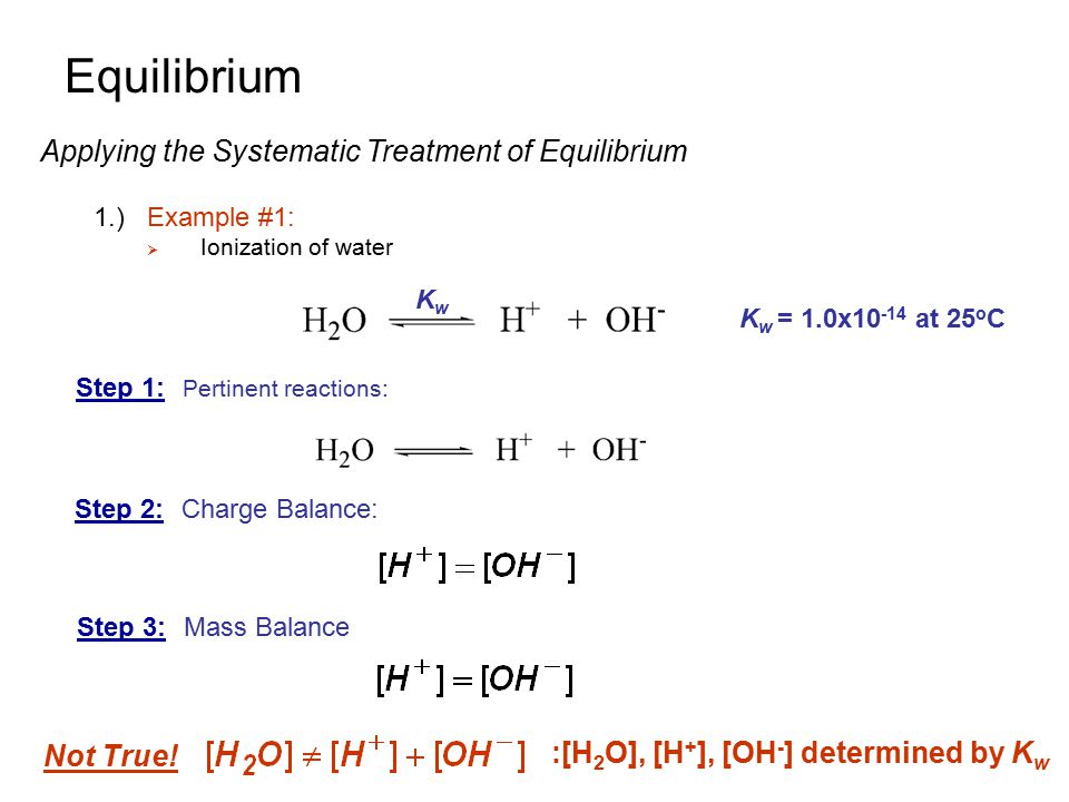 Equilibrium Applying the Systematic Treatment of Equilibrium Not True!