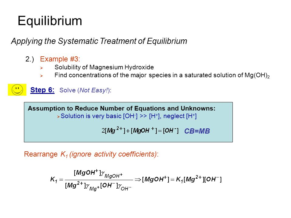 Equilibrium Applying the Systematic Treatment of Equilibrium