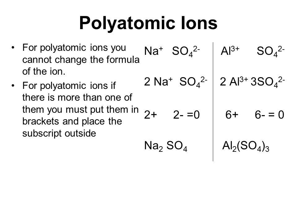Polyatomic Ions Na+ SO42- Al3+ SO42- 2 Na+ SO42- 2 Al3+ 3SO42-