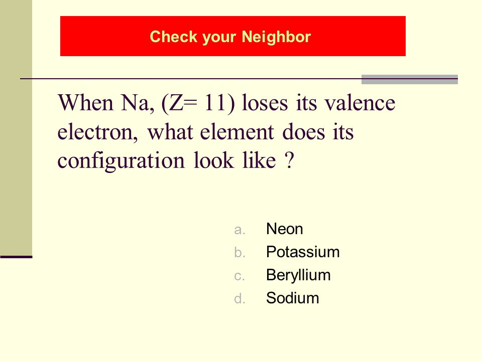 Check your Neighbor When Na, (Z= 11) loses its valence electron, what element does its configuration look like
