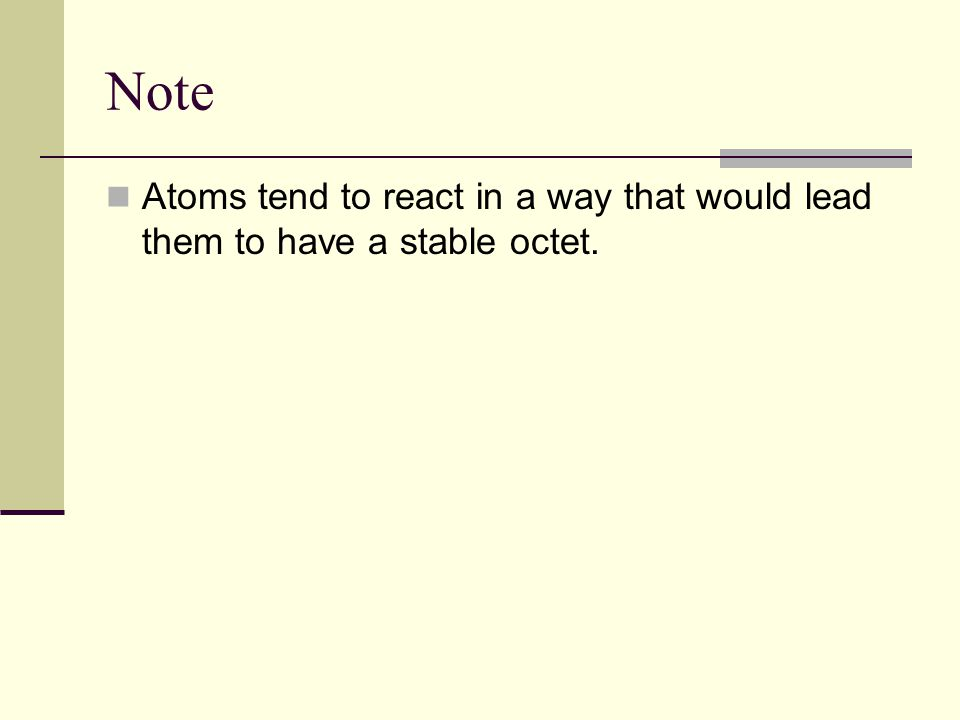 Note Atoms tend to react in a way that would lead them to have a stable octet.