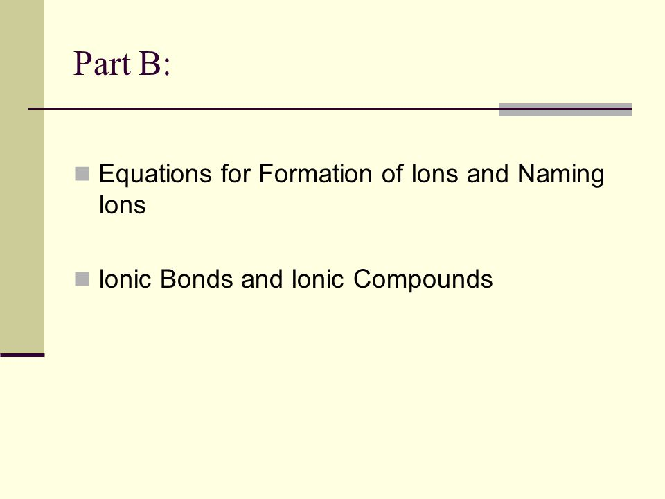 Part B: Equations for Formation of Ions and Naming Ions
