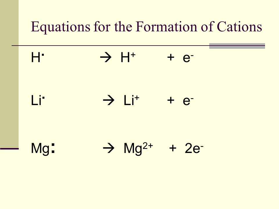 Equations for the Formation of Cations